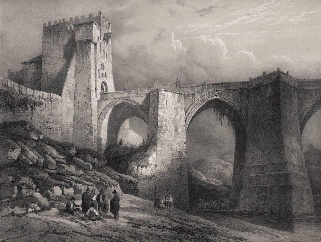 Vista del puente de San Martín de Toledo en el tercer volumen de España artística y monumental (1850). Litografía a partir de un dibujo de Genaro Pérez de Villa